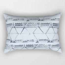 Simply Tribal Shibori in Indigo Blue on Sky Blue Rectangular Pillow