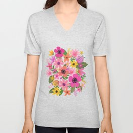 Hello floral typography Unisex V-Neck