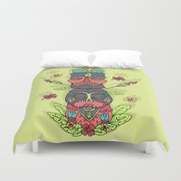 tiki Duvet Covers featuring Tiki totem by Binnyboo