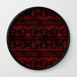 Egg and Dart Frieze in Black and Ruby Red Vintage Faux Foil Art Deco Vintage Foil Pattern Wall Clock
