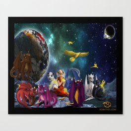 Dragonlings Space Party Canvas Print