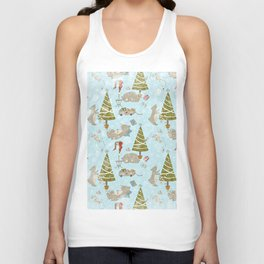 From Lazy Bears And Xmas Trees -Cute X-Mas Pattern Unisex Tank Top