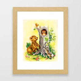 Woodland Animals & Owl's Tree Framed Art Print