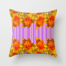 Orange-Yellow Daffodils Lilac Vision Throw Pillow