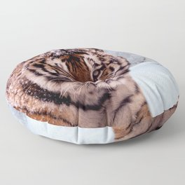 Tiger and Snow Floor Pillow