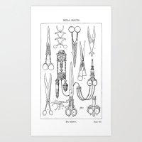 Cutting many ways: 1900 scissors illustration Art Print