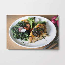 Chicken breast with spinach Metal Print