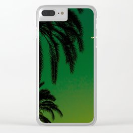 Tropical Palm Tree Silhouette Green Ombre Sunset Crescent Moon At Night Clear iPhone Case
