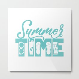 Summer TIME at the Pool Teal Metal Print