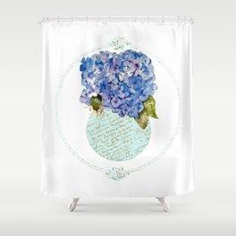 Cape Cod Hydrangeas in French script vase Shower Curtain