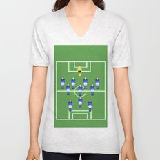 Football Soccer sports team in blue Unisex V-Neck