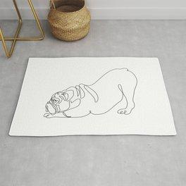 One line English Bulldog Downward Dog Rug