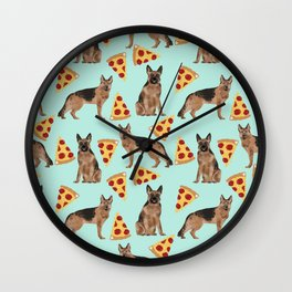 German Shepherd pizza party dog person gifts pet portraits dog breeds cheesy pizzas Wall Clock