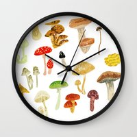 mushrooms Wall Clocks featuring Mushrooms by Lara Paulussen