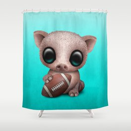 Baby Pig Playing With Football Shower Curtain