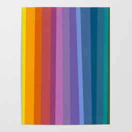 Modern Bright Rainbow Abstract Stripes Poster