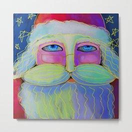 Psychedelic Santa Abstract Digital Painting  Metal Print