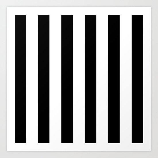 Simply Vertical Stripes in Midnight Black Art Print