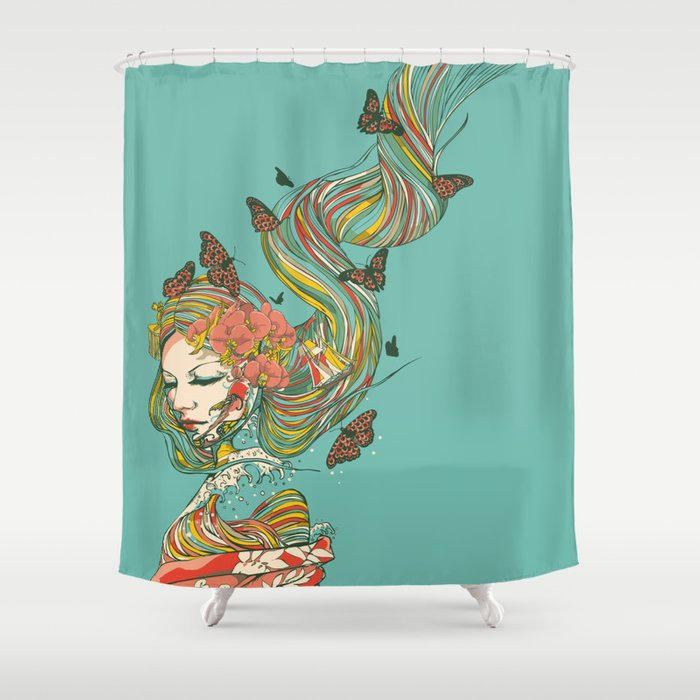 Geisha Shower Curtain By Huebucket