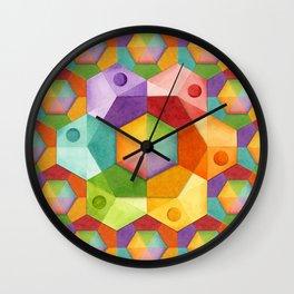 Rainbow Hexagons Wall Clock