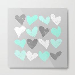 Mint white grey grunge hearts Metal Print