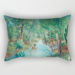 First Night Together in the Jardin e'Eden landscape painting by O. Sachoroff Rectangular Pillow