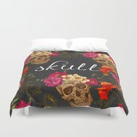 wwe Duvet Covers featuring Skull by eARTh