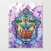 hamsa Canvas Prints featuring Hamsa by oxana zaika
