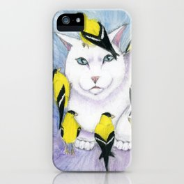 Cat Covered in Goldfinches iPhone Case