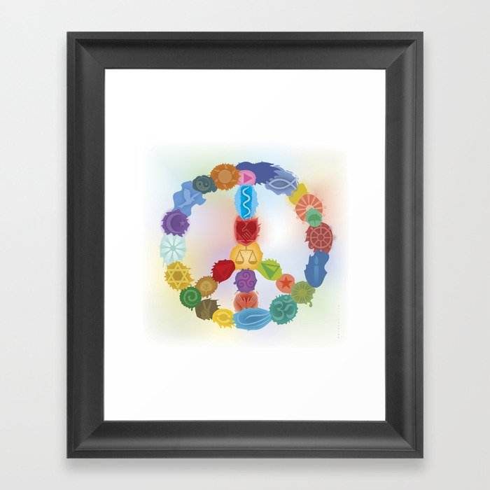 Peace Sign In Colors Framed Art Print by wachtmeister | Society6
