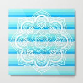 Turquoise Blue Stripes Mandala Metal Print