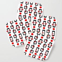 Circles Squares Black Red White Coaster