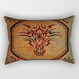 Tribal Dragon Head In Octagon With Dragon Chinese Characters Rectangular Pillow
