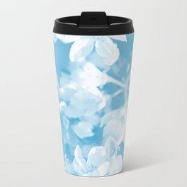 Spring Atmosphere White Flowers Sky Blue Background #decor #society6 #homedecor Travel Mug