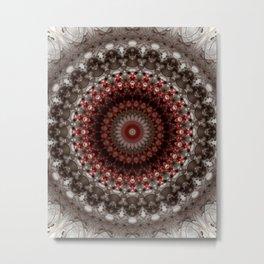 Detailed mandala in grey and red Metal Print