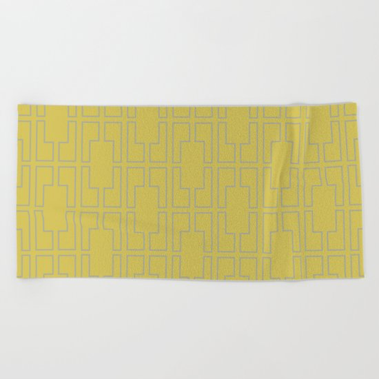 Simply Mid-Century Retro Gray on Mod Yellow Beach Towel