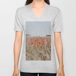 flower field Unisex V-Neck