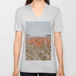 flower field Unisex V-Neck