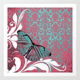 Vibrant Damask Butterfly Art Print