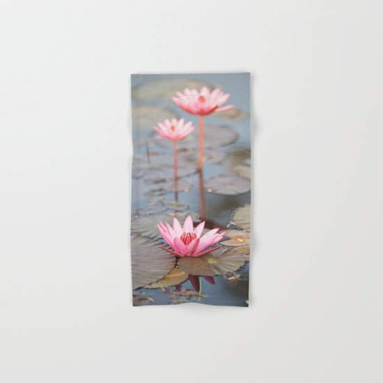 Three Lotus Flowers Hand & Bath Towel