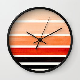 Burnt Sienna Minimalist Mid Century Modern Color Fields Ombre Watercolor Staggered Squares Wall Clock