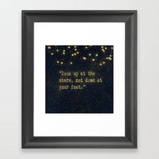Look up at the stars,not down at your feet- gold glitter Typography on dark backround Framed Art Print