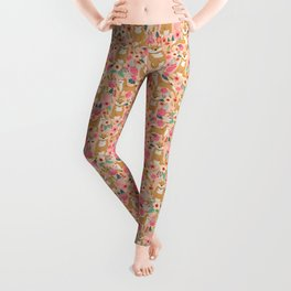 Shiba Inu floral dog must have gifts for shiba lovers florals dog breed Leggings