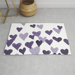 Valentine's Day Watercolor Hearts - ultraviolet Rug
