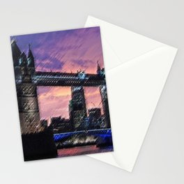 Tower Bridge, London at Sunset Landscape Painting by Jeanpaul Ferro Stationery Cards