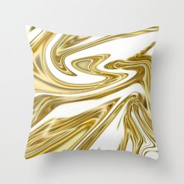 Liquid Gold Marble Throw Pillow