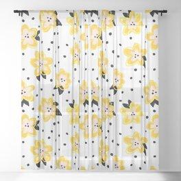 Crayon Flowers Pink Yellow Black Sheer Curtain