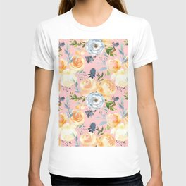 Hand painted pink ivory orange teal watercolor floral T-shirt
