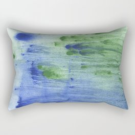 Blue-green abstract watercolor painting Rectangular Pillow
