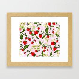 strawberries juicy and juicy Framed Art Print